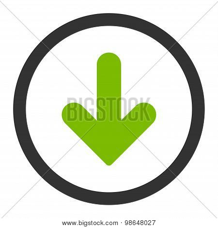 Arrow Down flat eco green and gray colors rounded raster icon