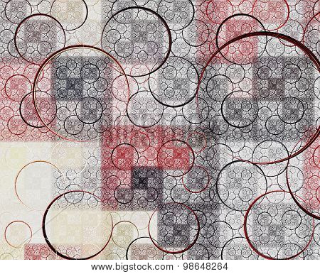 Abstract Red And Black Fractal With Swirls Over White Background