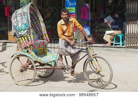 Rickshaw waits for passengers at the street of Bandarban, Bangladesh.