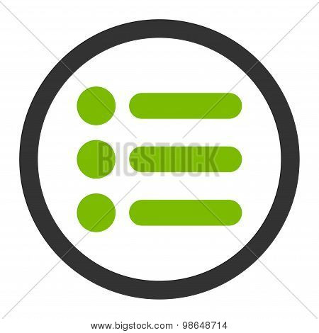 Items flat eco green and gray colors rounded raster icon
