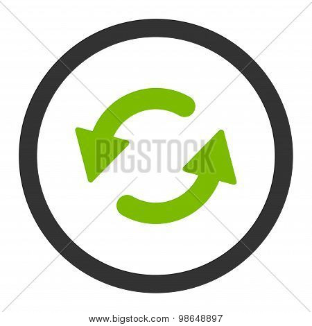 Refresh Ccw flat eco green and gray colors rounded raster icon