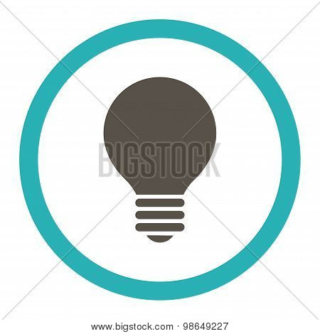 Electric Bulb flat grey and cyan colors rounded raster icon