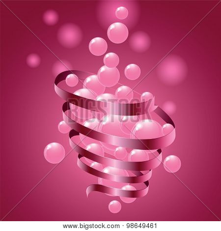 Pink Small Balls And Twisted Tape On Colorful Gift Background.