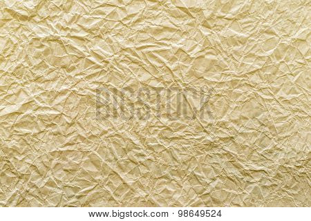 Texture Old Crumpled Paper Of Yellow Sand Color