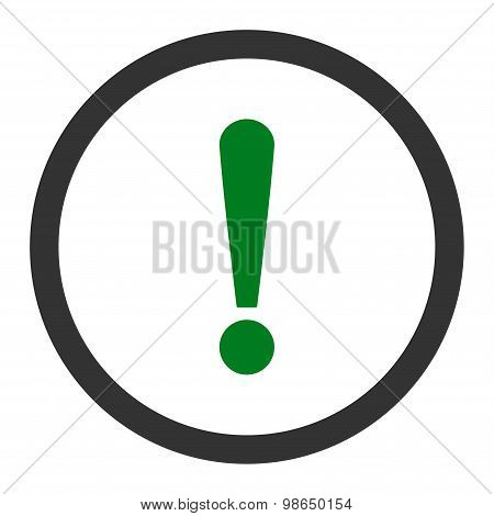 Exclamation Sign flat green and gray colors rounded raster icon