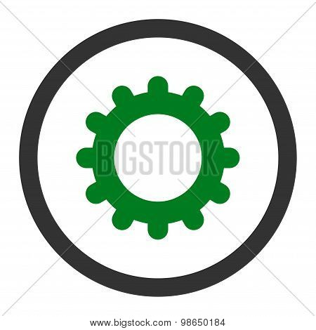 Gear flat green and gray colors rounded raster icon