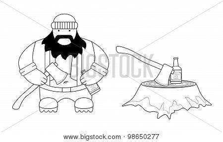 Fat lumberjack. Contour