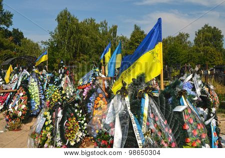 AUG13,2015 in KIEV,UKRAINE .Lesnoye (Forest) Cemetery.Graves of Ukrainan army and nationalist formations soldiers died during Ukrainian Civil War 2014-15 at Donbas. At August 13,2015 in Kiev,Ukraine
