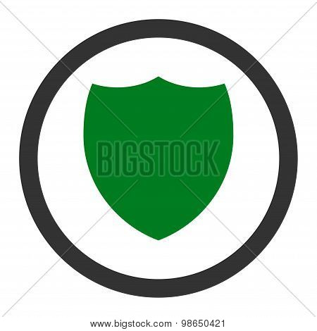Shield flat green and gray colors rounded raster icon