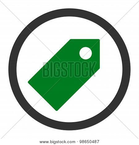 Tag flat green and gray colors rounded raster icon