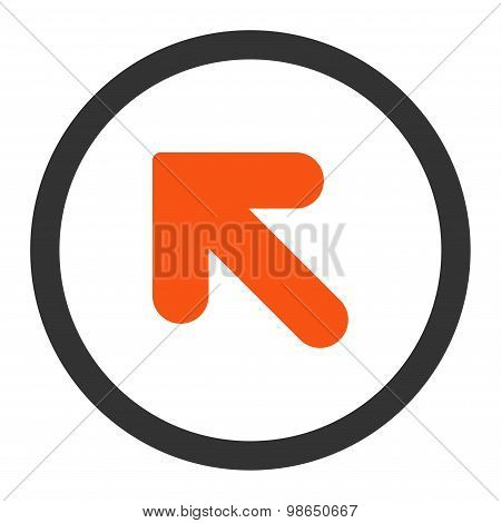Arrow Up Left flat orange and gray colors rounded raster icon