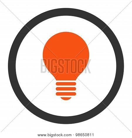 Electric Bulb flat orange and gray colors rounded raster icon
