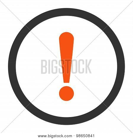Exclamation Sign flat orange and gray colors rounded raster icon