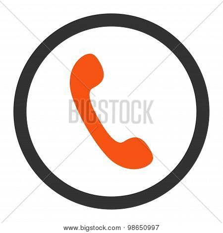 Phone flat orange and gray colors rounded raster icon