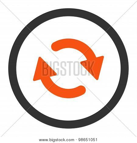 Refresh flat orange and gray colors rounded raster icon