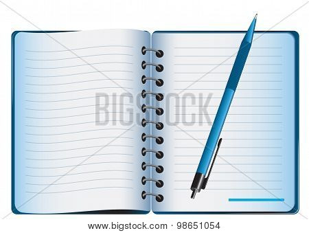 Stationery set. Notebook, open legal pad, pen