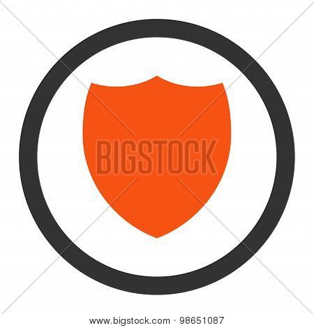 Shield flat orange and gray colors rounded raster icon