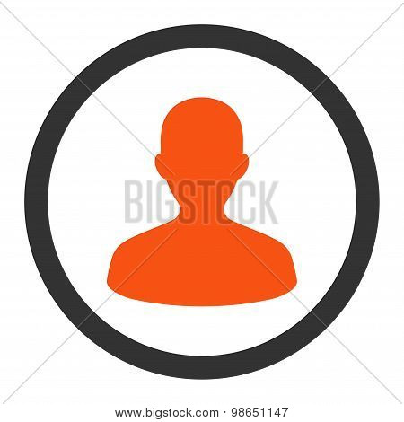 User flat orange and gray colors rounded raster icon
