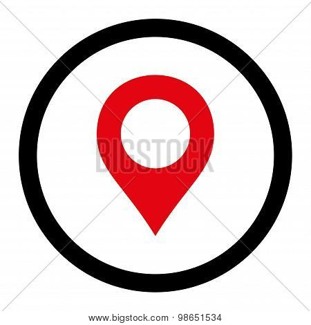 Map Marker flat intensive red and black colors rounded raster icon