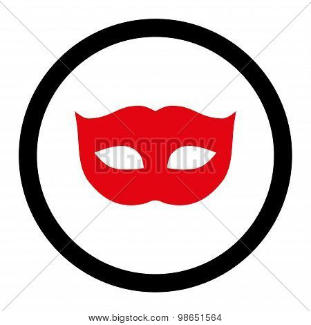 Privacy Mask flat intensive red and black colors rounded raster icon