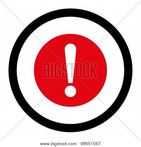 Problem flat intensive red and black colors rounded raster icon