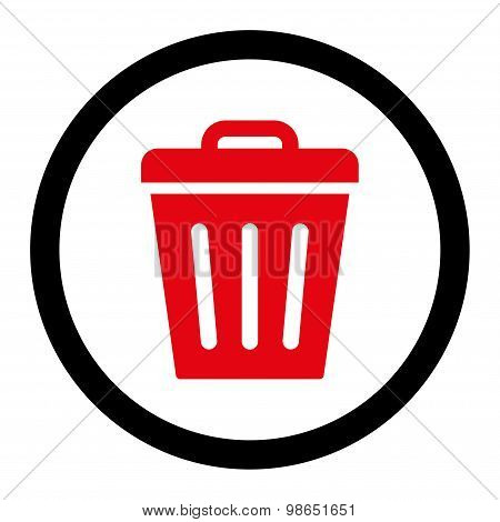 Trash Can flat intensive red and black colors rounded raster icon