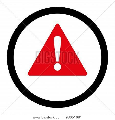 Warning flat intensive red and black colors rounded raster icon