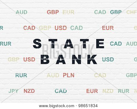Currency concept: State Bank on wall background