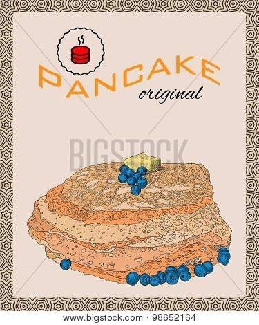 Retro hand drawn poster with pancakes, blueberry and butter.