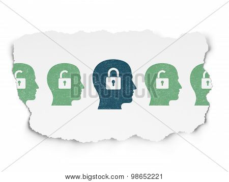 Privacy concept: head with padlock icon on Torn Paper background