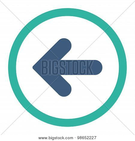 Arrow Left flat cobalt and cyan colors rounded raster icon
