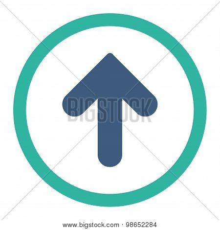 Arrow Up flat cobalt and cyan colors rounded raster icon