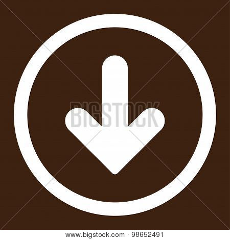 Arrow Down flat white color rounded raster icon