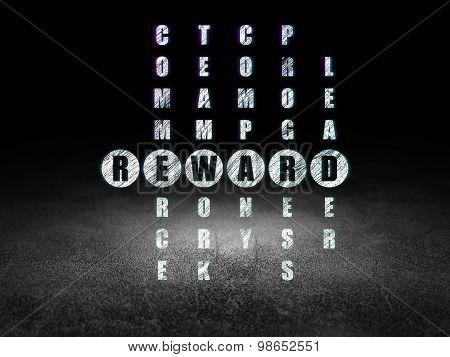 Finance concept: word Reward in solving Crossword Puzzle
