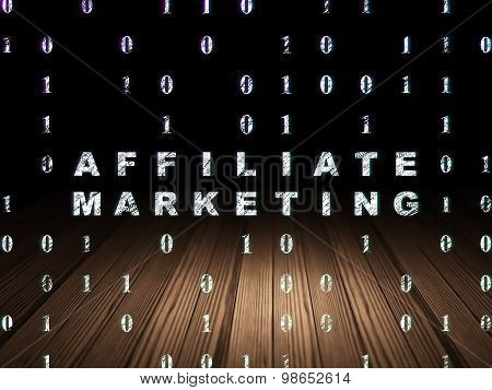 Business concept: Affiliate Marketing in grunge dark room