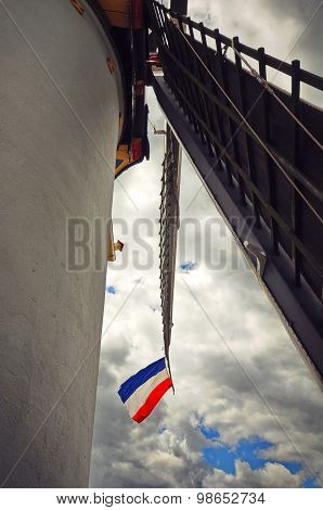 Dutch Flag On A Windmill Blade