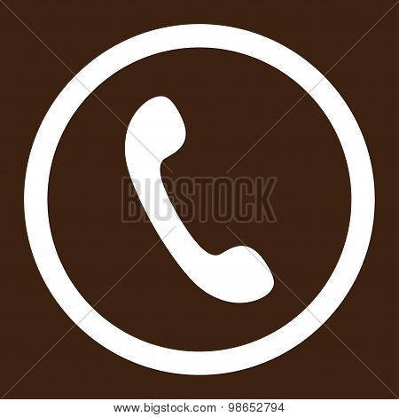 Phone flat white color rounded raster icon