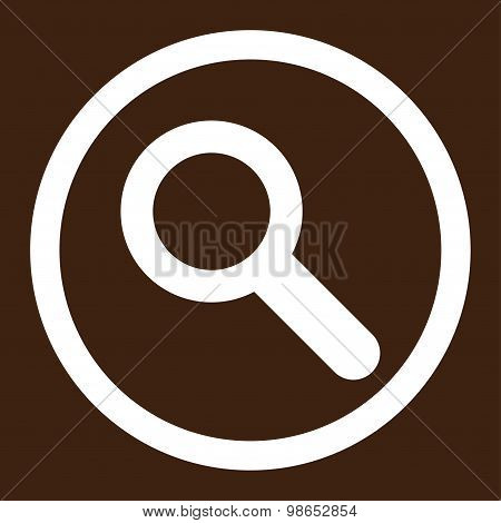 Search flat white color rounded raster icon