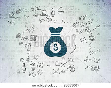 Business concept: Money Bag on Digital Paper background