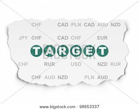 Finance concept: Target on Torn Paper background
