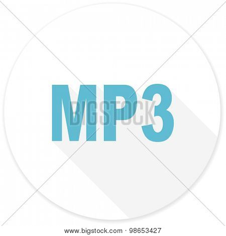 mp3 flat design modern icon with long shadow for web and mobile app