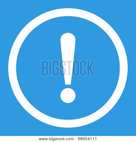 Exclamation Sign flat white color rounded raster icon