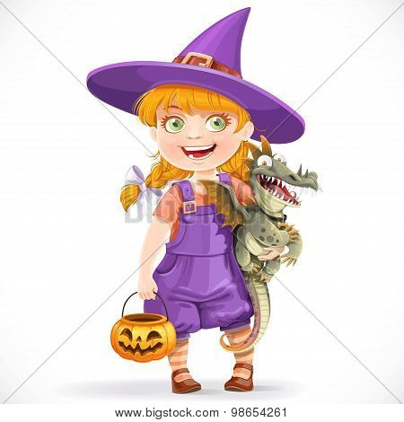 Cute Little Witch With A Dragon Under His Arm And A Pumpkin Bask