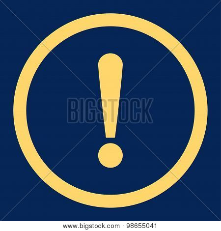 Exclamation Sign flat yellow color rounded raster icon