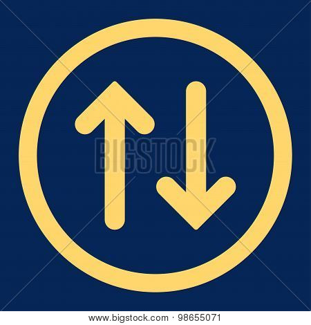 Flip flat yellow color rounded raster icon