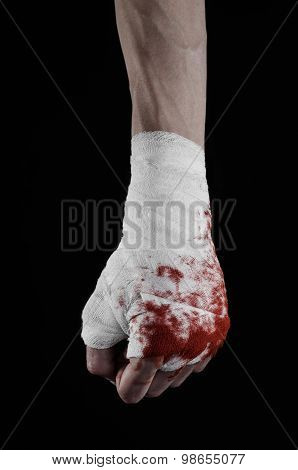 Shook His Bloody Hand In A Bandage, Bloody Bandage, Fight Club, Street Fight, Violence, Bloody Theme