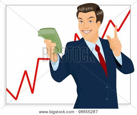 Trader Holding Bundle Of Money