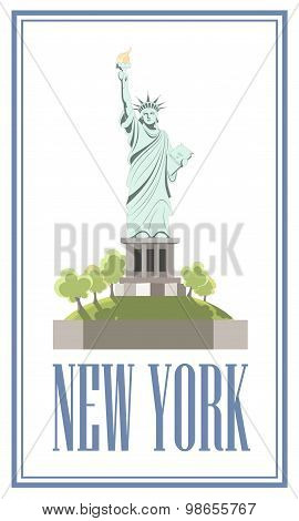 New-York. Isolated statue of liberty on white background. Flat style. Vector illustration. Logo