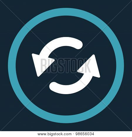 Refresh Ccw flat blue and white colors rounded raster icon
