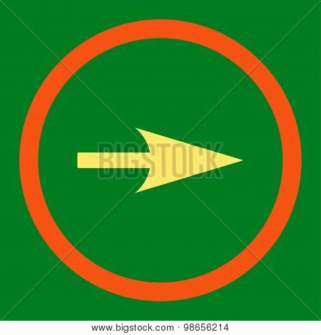 Arrow Axis X flat orange and yellow colors rounded raster icon